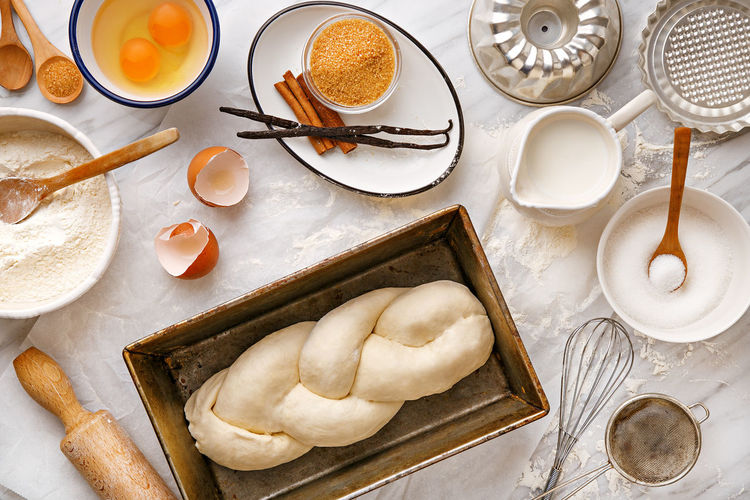 Baking ingredients and food preparation. Top view Above Baking Bowl Brown Sugar Butter Cinnamon Dough Egg Food Food And Drink Homemade Kitchen Making Milk Preparation  Preparing Recipe Spoon Sugar Table Top View