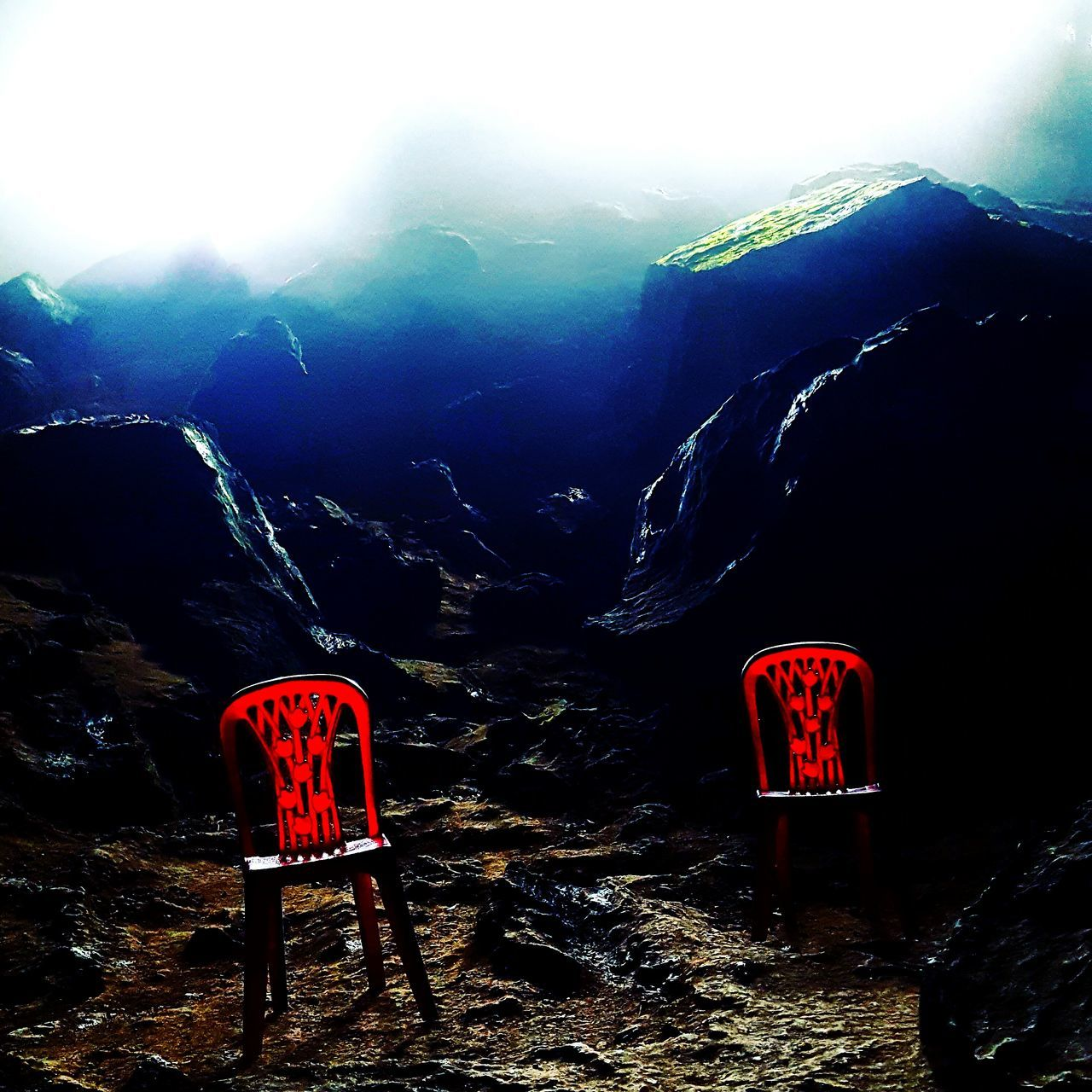 chair, nature, illuminated, red, mountain, no people, beauty in nature, landscape, outdoors, winter, night