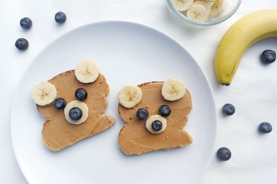 Bear shaped sandwich Food Directly Above High Angle View Ready-to-eat No People Close-up Bread Sandwich Toasted Bread Brunch Breakfast White Background Healthy Eating