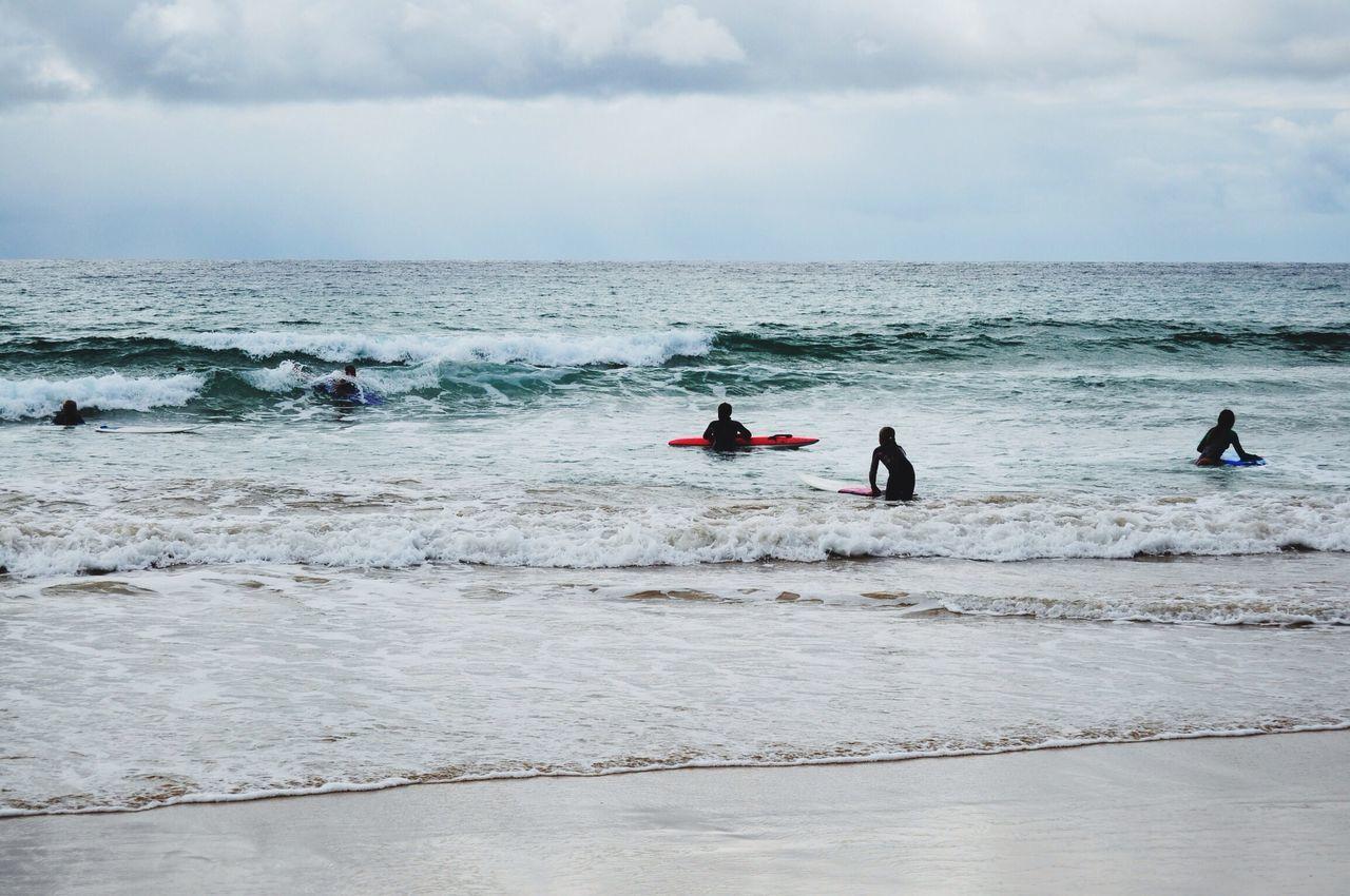 Beautiful stock photos of surf, Beach, Cloud, Five People, Horizon Over Water