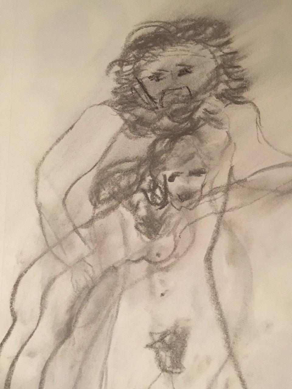 art and craft, human representation, indoors, no people, close-up, ink, sky, bird, day