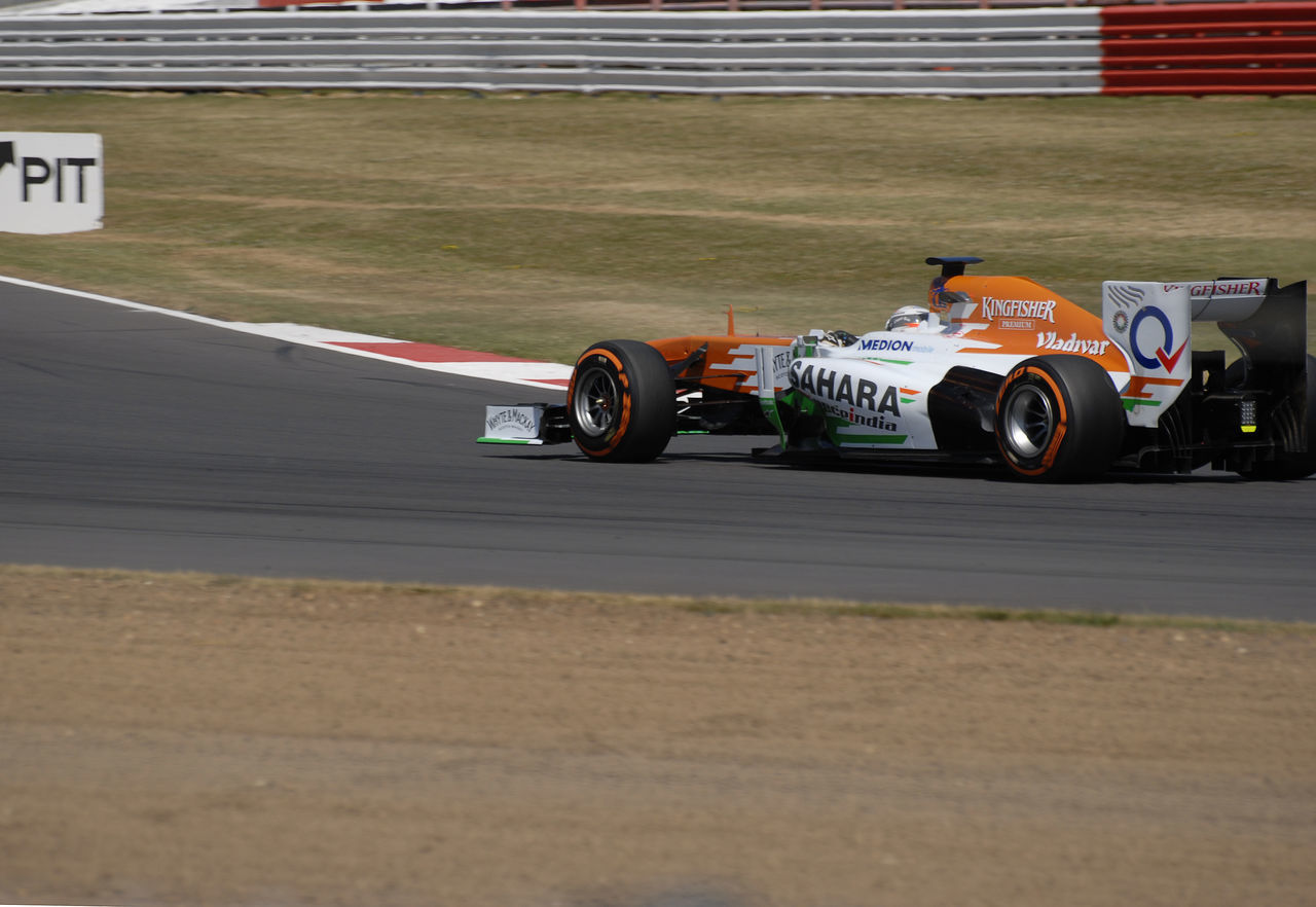 Force India car during the July 2013 Tyre Testing session at Silverstone , England. Auto Racing Car Competitive Sport Day Formula One Racing No People Outdoors Professional Sport Racecar Skill  Speed Sport Sports Track Sports Venue