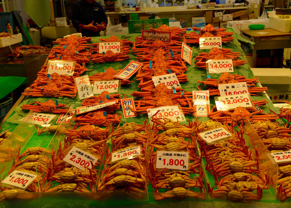 Crab Crabs Display Food For Sale Freshness Japan Market Market Stall Price Tag Retail  Store Text Traditional Variation 近江町市場