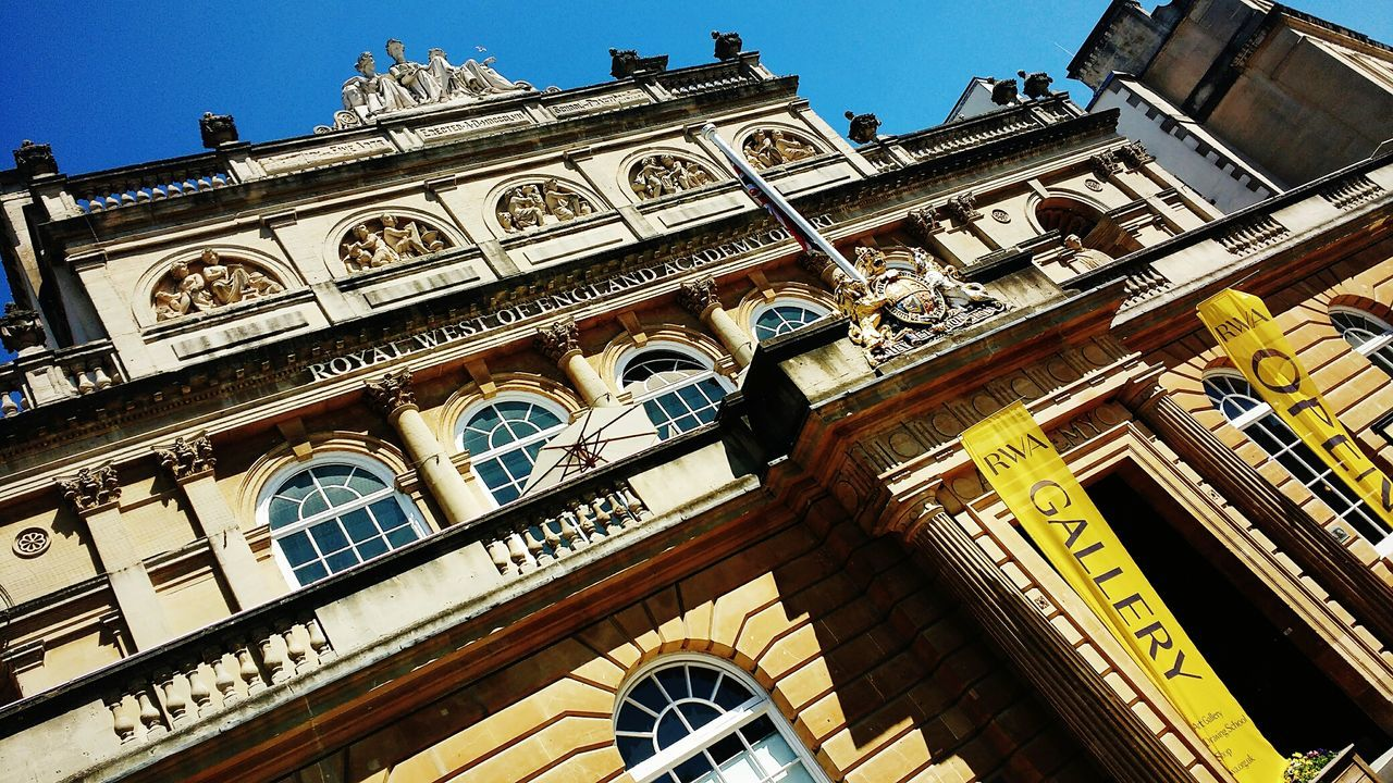 RWA Bristol 🏛🖼🎨 Gallery Tourist Attraction  Arts Culture And Entertainment Low Angle View Architecture Built Structure Building Exterior Travel Destinations Day Outdoors History Sunlight No People Sky Classical Architecture Stone Buildings Grand Building Ornate Royal West Of England Academy Art School Art Gallery Bristol Culture Arts And Culture Investing In Quality Of Life Breathing Space