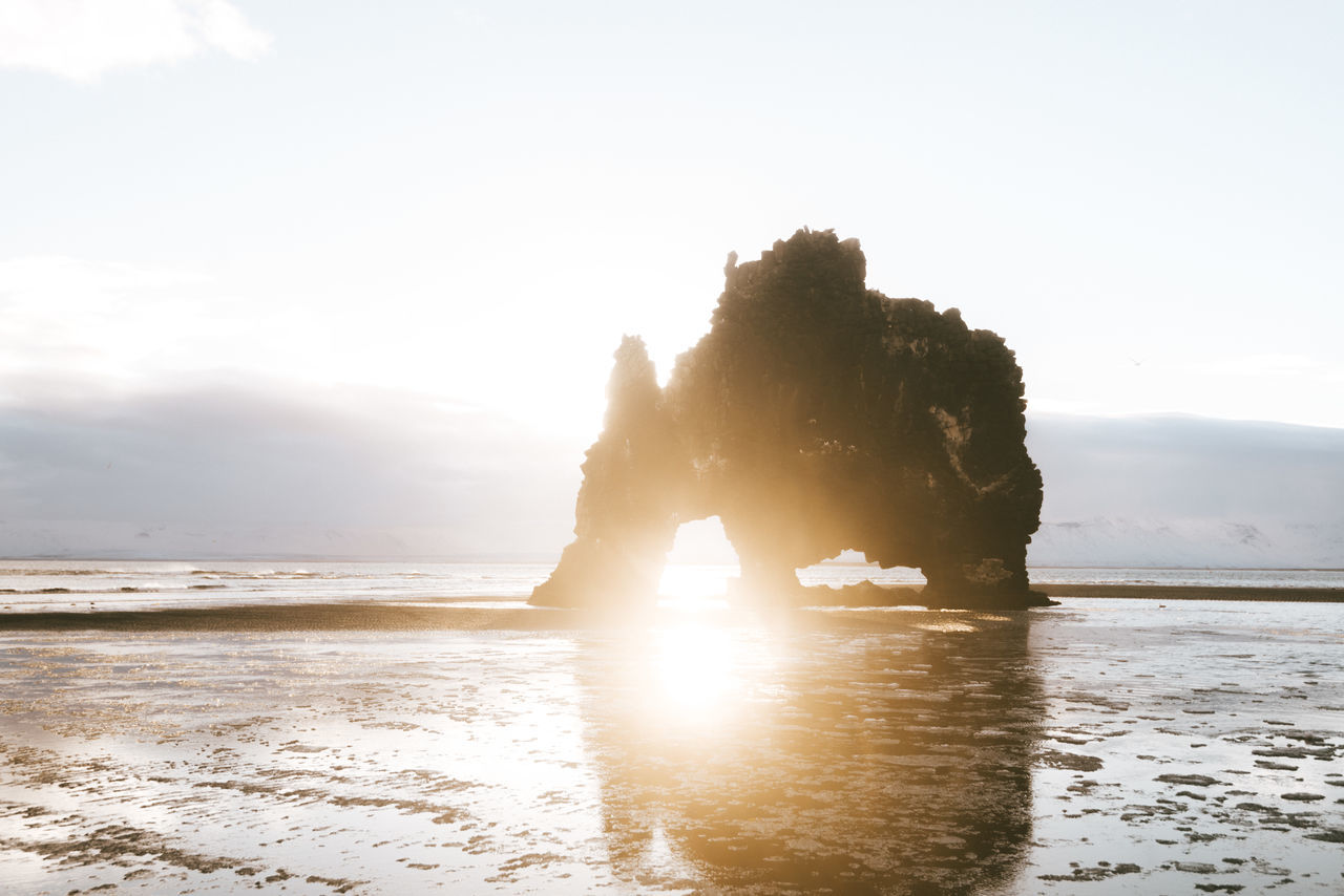 Rock formation in iceland on a black sand beach