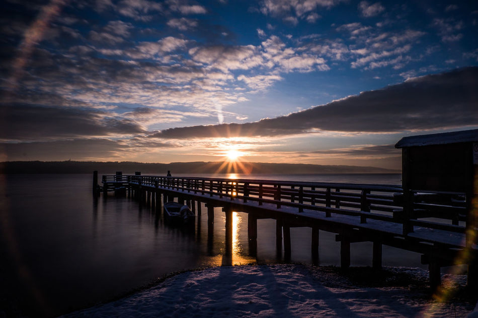 sunrise Beauty In Nature Blue Bridge Built Structure Cloud Cloud - Sky Connection Engineering Lake Mountain Mountain Range Nature No People Outdoors Pier Reflection River Scenics Sky Sun Sunbeam Sunset Tranquil Scene Tranquility Water