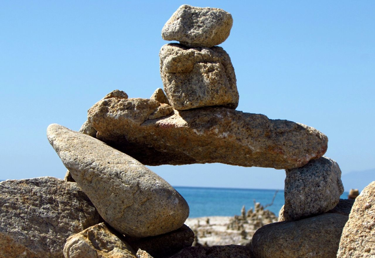 rock - object, balance, day, no people, nature, sea, stack, outdoors, water, sky, close-up