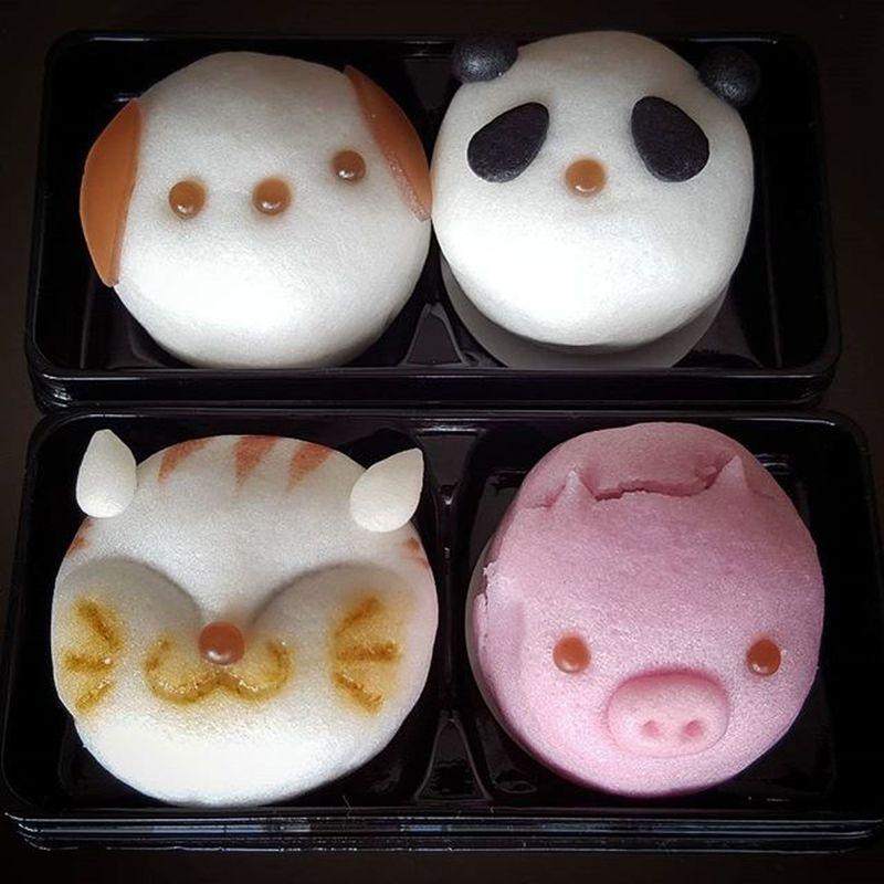 Animal themed Manju cakes Catsofinstagram Cat Dog Panda Pig Manju Cake Cakestagram