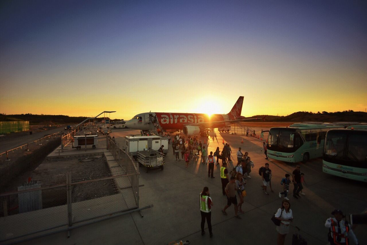 Touchdown in Caticlan. Sunset Large Group Of People Clear Sky Sky Transportation Sunlight People Airplane Aircraft Airport Airport Runway Airportphotography