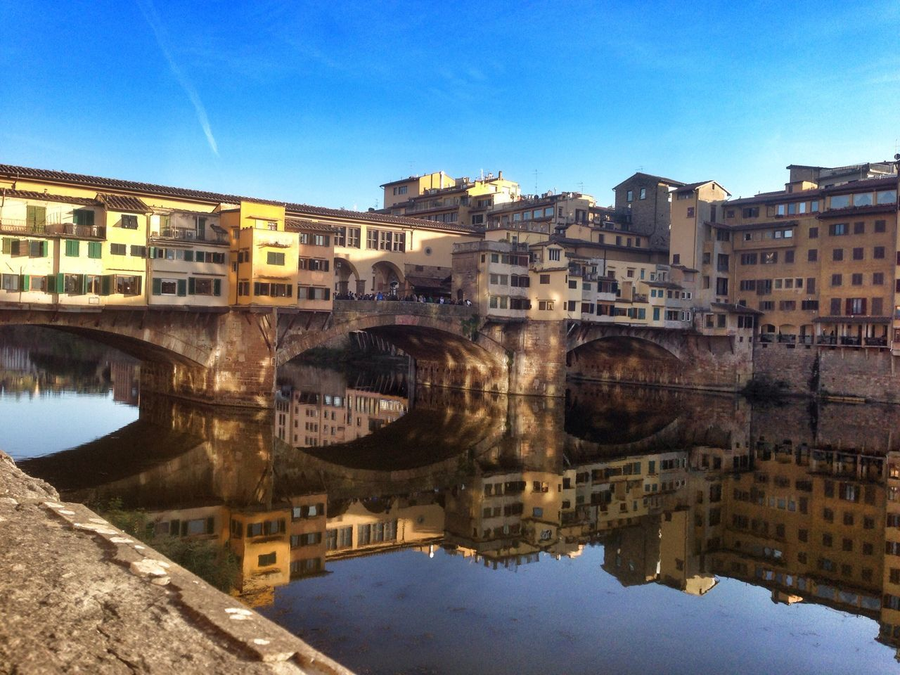 Florence Ponte Vecchio Bridge Reflection Water Reflections Tuscany Italy Sightseeing Traveling