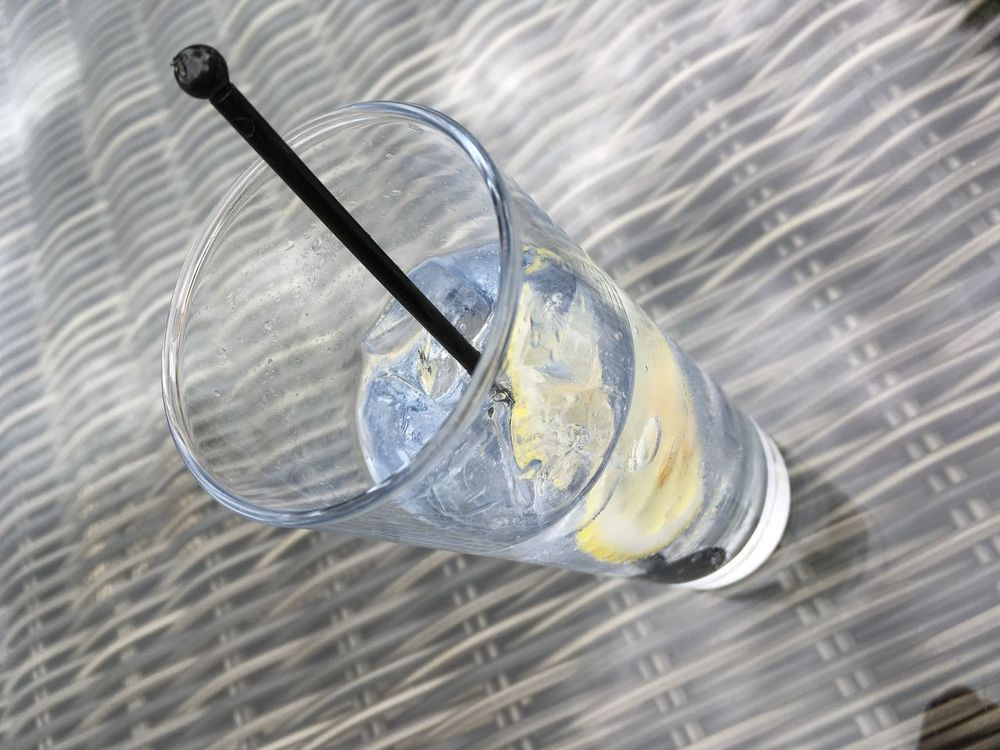 Directly Above Drinking Glass Gin And Tonic High Angle View Ice Lemon No People Stirrers Twizzlers