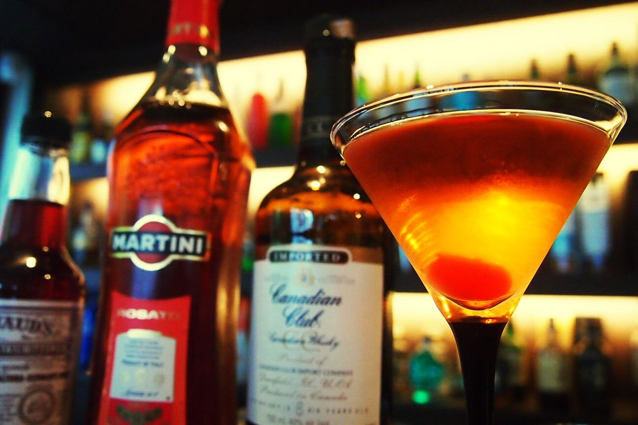 Canadian Club Manhattan with Rosato vermouth Whiskey Drinks Mixology Cocktail Bar Manhattan