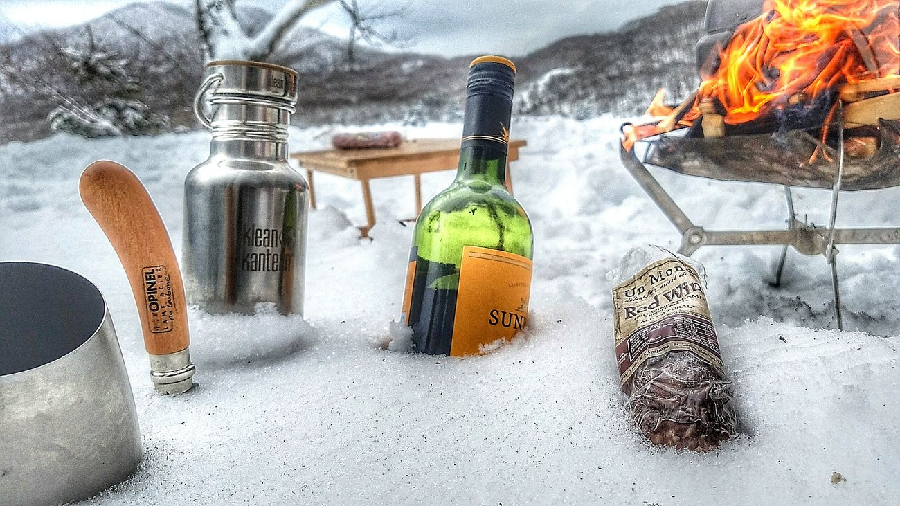 Wine Moments Bottle Cheers Wine From My Point Of View Enjoying Life Frozen Nature Winter Getting Inspired Beauty In Nature Snow Snow ❄ Fire Bonfire In The Forest Camping Relaxing Winter Wonderland EyeEm Nature Lover The Great Outdoors - 2017 EyeEm Awards