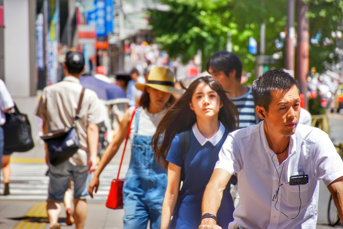 Blue City Day Japanese  Nio Red Bag Shinjuku Street Sun Tokyo,Japan Women