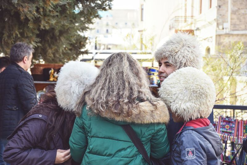 Warm Clothing Winter Togetherness Family Family Vacation Outdoors Day People Holiday - Event City Leisure Activity The Week On EyeEm Streetphotography Happiness Wool Hat Rear View Wool Woolen White Hat Culture Traditional Costume Traditional Clothing Azerbaijan Connected By Travel