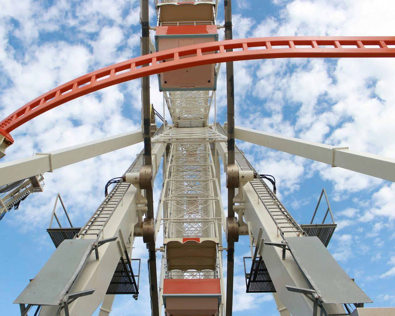 Sky Cloud - Sky Rollercoaster City Outdoors Day No People Ferriswheel Ferris Wheel View Ferris Wheel Mechanical Art Mechanical