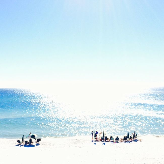 Beach time at Rosemary Beach, Florida Panhandle. Photo by Tom Bland. Beach Lifestyle Coastal Beachtime Sun Vacations Holiday Sunny Sunshine Blue Sea Summer Copy Space IPhoneography IPhone Gulf Coast Vacation Sunlight Ocean Relaxation Soft Out Of Focus Dreamy Coastline Large Group Of People