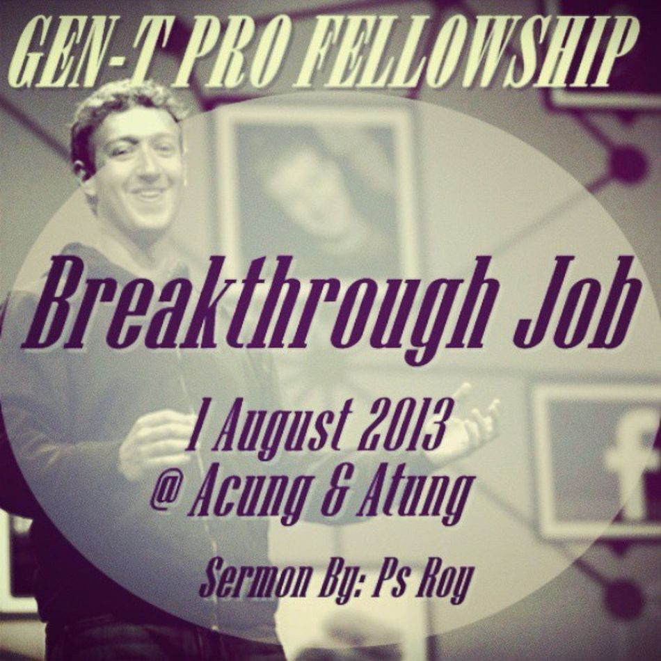"""Gen-T pro fellowship tonight at Acung and Atung, 7 Pm.. acoustic worship and we will share about """"The Breakthrough Job"""",, find the new breakthrough in your job, your study with Jesus's way... that's why join with us guys... powerfull sermon by Ps Roy (our senior Pastor of GBI Peace Center). GenTpro GenTyouth Gbipeacecenter Breakthroughjob breakthrough businesministry"""