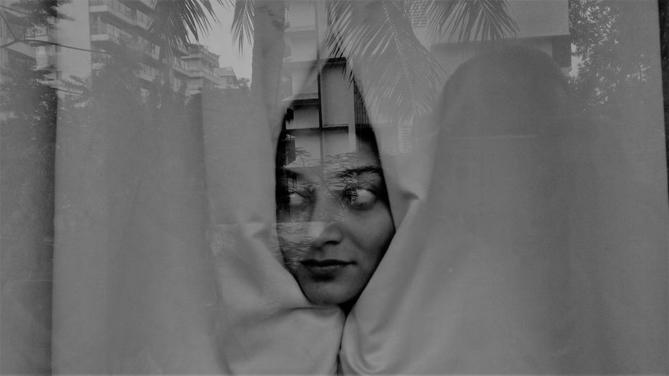 U THERE ? Adult Blackandwhite Close-up Covering Cozy Cozy At Home Cozy Moments Cozy Weather Day Double Exposure Front View Headshot Hey There :) Indoors  Leisure Activity Lifestyles One Person Real People Women Young Adult Young Women