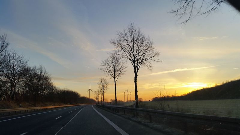 Tree Sunset Road The Way Forward Sky Nature No People Highway Silhouette Cloud - Sky Beauty In Nature Outdoors Taking Photos Hello World Landstrasse 2017 Landscape