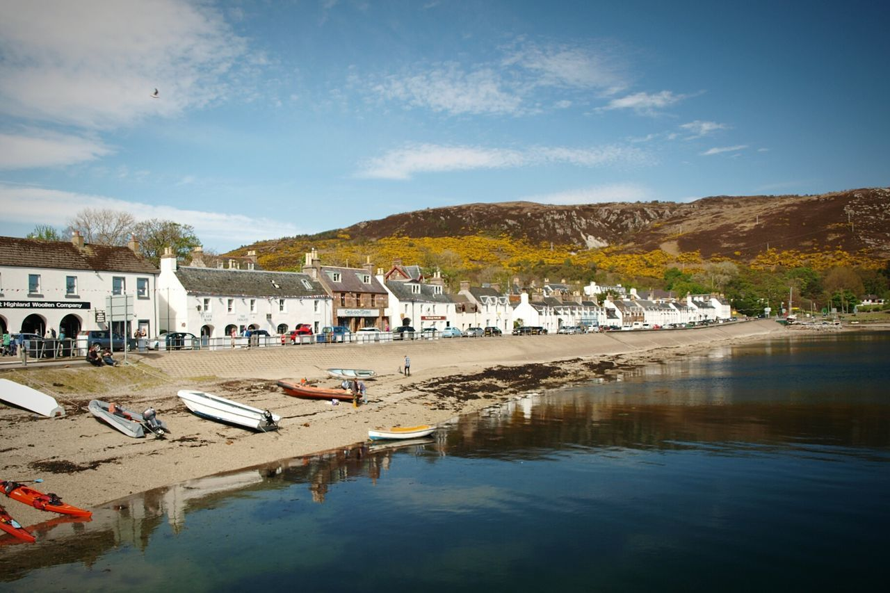 Ullapool Scotland Highlands Loch Broom Harbour Beach Boats Reflection Outdoors Building Exterior Sky Landscape Day Nature Blue Sky Scenics Water Sunlight Hillside Coast