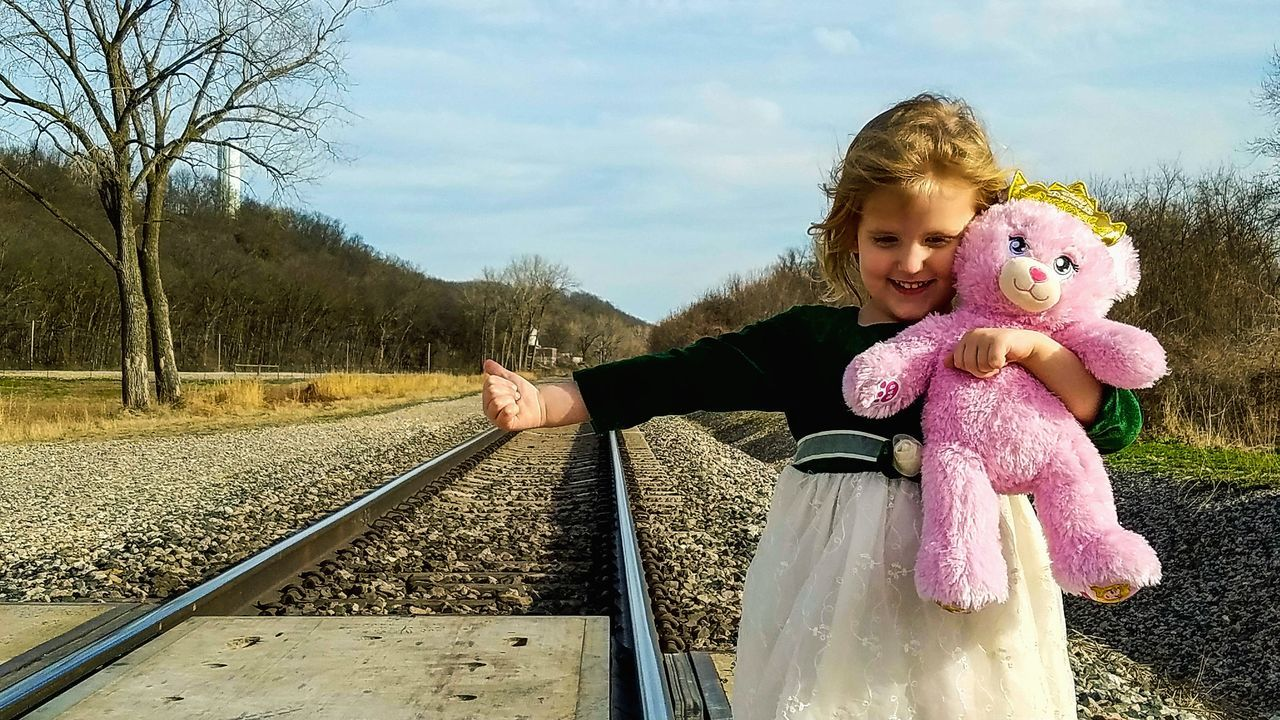 Hitchin' a ride to Ireland Stpatricksday Childhood One Person Railroad Tracks One Girl Only Children Only Child Portrait People Outdoors Day Sky Cute Cheerful Blond Hair Landscape Countryside Gwennie Goose Gwenniegoose Gwinning EyeEm Diversity The Secret Spaces