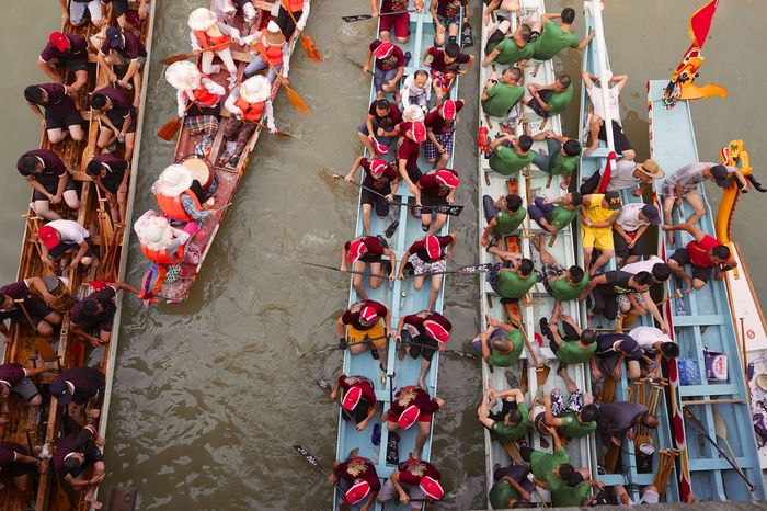 Boat China Day Dragon Boat Festival High Angle View Horizontal No People Outdoors Team Work