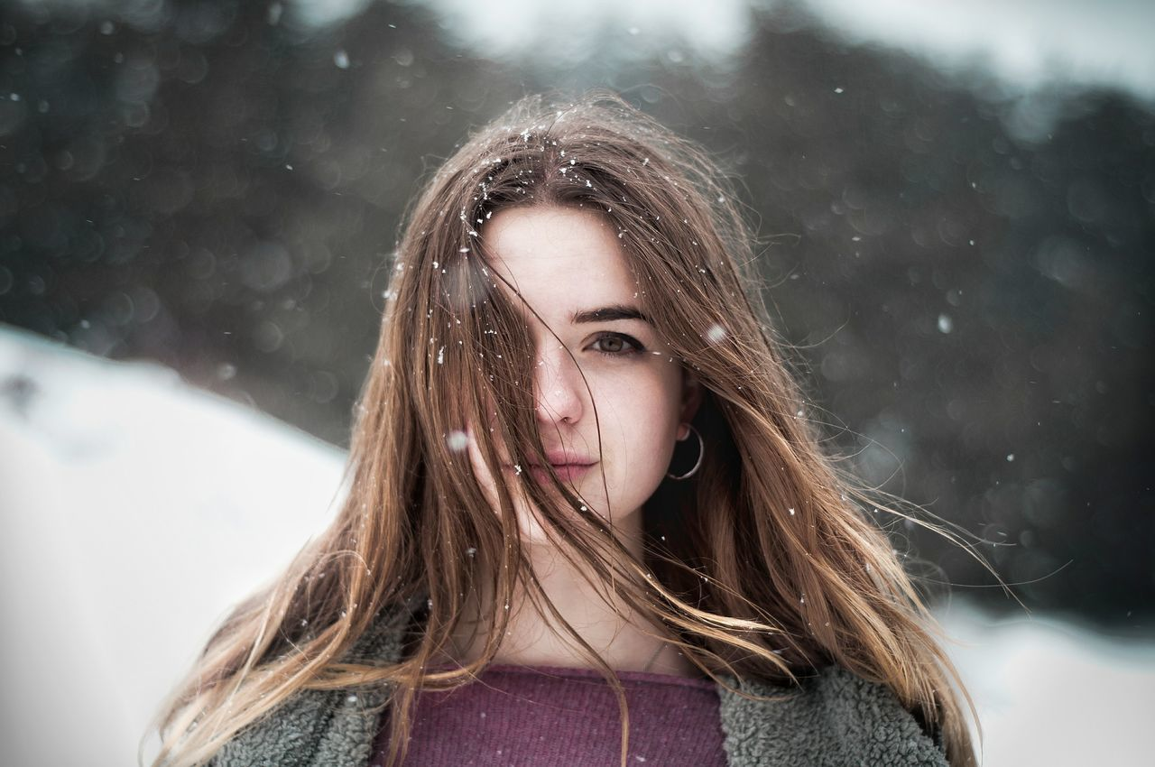 Snow day Long Hair Headshot Teenager One Person Portrait People One Teenage Girl Only Close-up Snowing Outdoors Young Adult Cold Temperature Day Adult