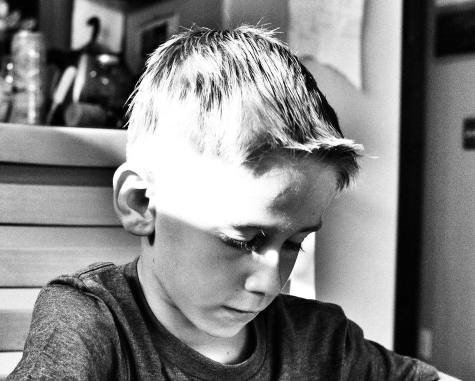 My baby-man...the artist. Black And White Children Light And Shadow