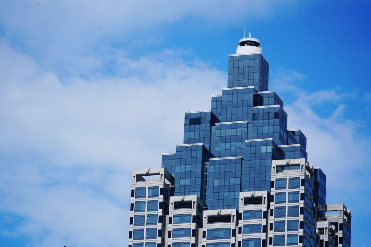 sky, built structure, architecture, tower, skyscraper, building exterior, cloud - sky, no people, day, blue, modern, outdoors