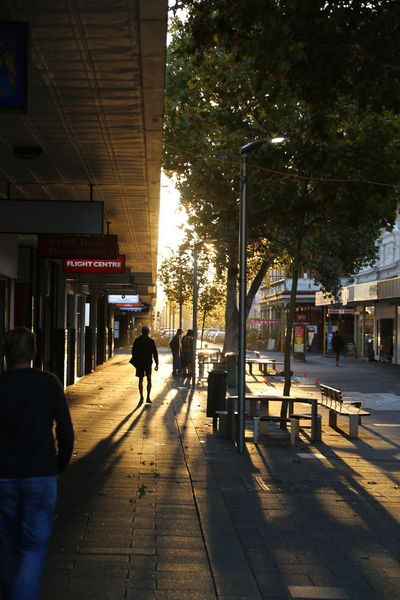 Australia Building Exterior Built Structure City Day Early Morning Freemantle Long Shadows Men Outdoors People Quiete Sky Walkway Warm Light