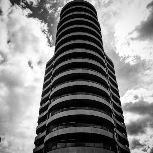Low Angle View Architecture Building Exterior Sky Tower Built Structure Tall - High Window Cloud Cloud - Sky Office Building City Tall Cloudscape Modern Bnw London Nice No People Geometric Shapes Family Day Repetition Skyscraper Building Story