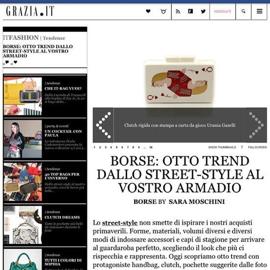URANIA GAZELLI at @grazia_it ITALY!! Thank you Sara Moschini!!!! Uraniagazelli Clutch Trend Grazia graziaitaly italy magazine instamood queen handmade madeingreece madewithlove