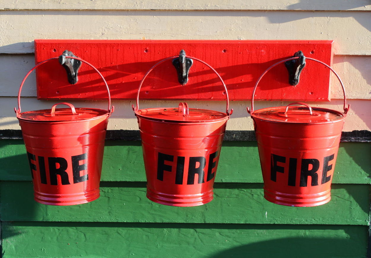 3 Day Fire Buckets Fire Extinguisher No People Nymr Outdoors Pickering Station Red Text