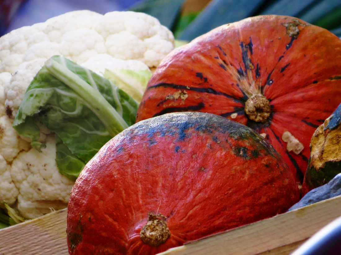 At The Market Cauliflower Close-up Focus On Foreground Outdoors Pumpkins Season Food Vegetable White And Orange
