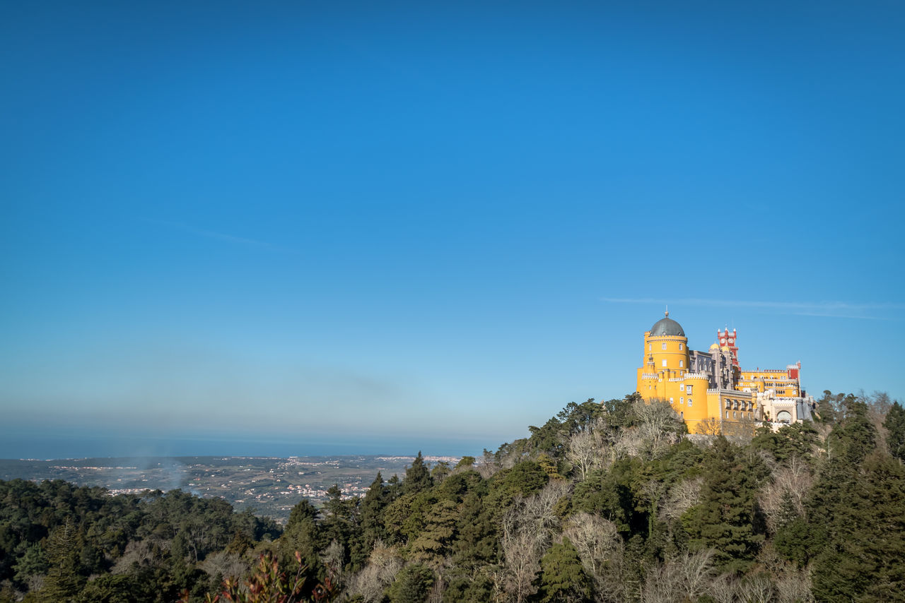 Architecture Blue Building Exterior City Landscape Nature Outdoors Palace Palace Garden Pena Palace Pilgrimage Sintra (Portugal) Sky Tower Travel Travel Destinations Vacations