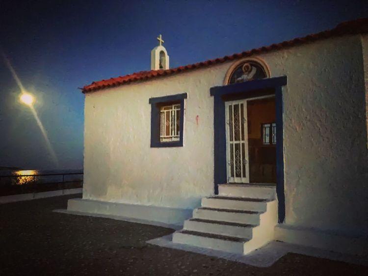 Porto Heli Church Moonlight Full Moon Night  Greece Pelloponisos Sea And Sky Religion Faith Nightphotography