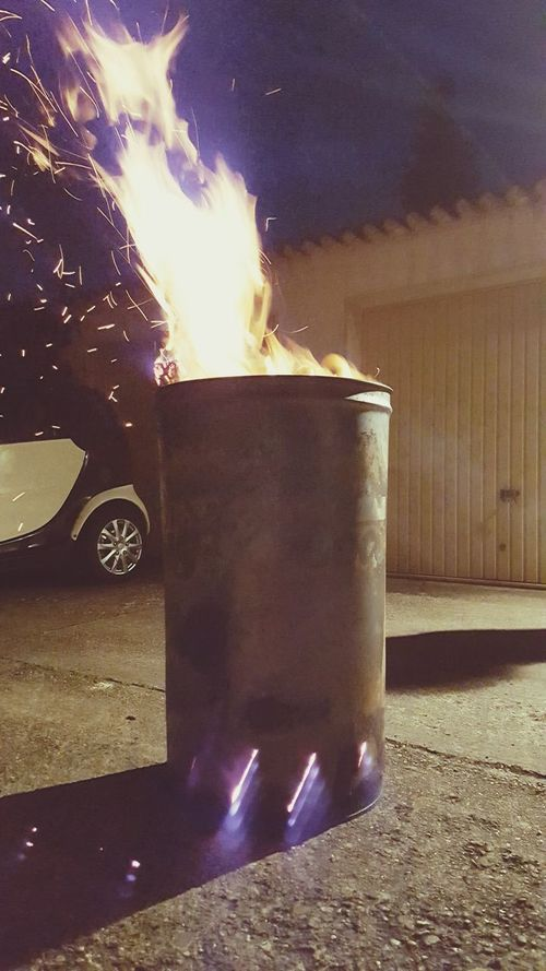 Flame Heat - Temperature Burning Night Outdoors No People Close-up Oildrum