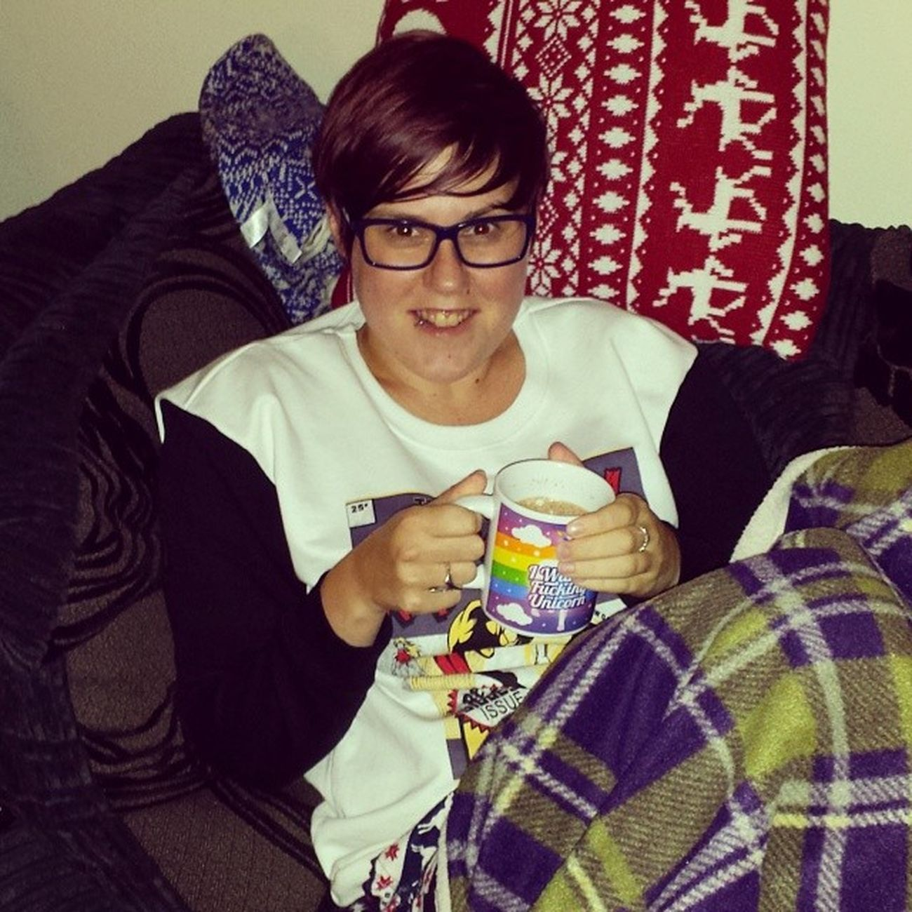 Cuddled up with a hot chocolate watching The Bridge finale 100happydays Day37