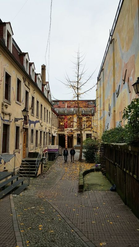 Taking Photos Hanging Out Autumn Leaves Falling Leaves Tree City Life Urban Life City Dresden / Germany Germany Dresden Dresden Neustadt Walking Around Urban Kunsthofpassage Architecture Urban Architecture Street Art Urban Geometry Urbanphotography Houses Eye4photography  Art Cloudy Courtyard