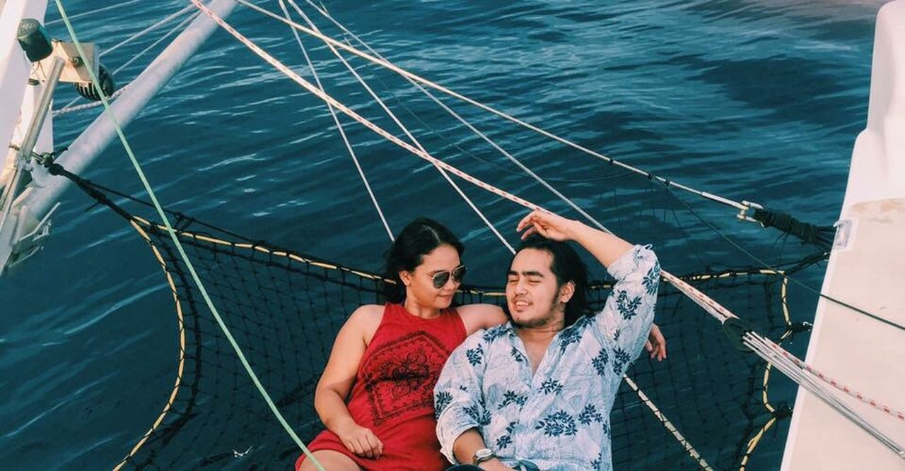 In the heart of the sea People And Places Yacht Net Sea Boat Sailing Sailboat Adventure Wanderlust Couple My Year My View Togetherness Bonding Water Love Nautical Vessel Leisure Activity Lifestyles Casual Clothing Weekend Activities Person Waist Up Getaways Chill Travel Destinations