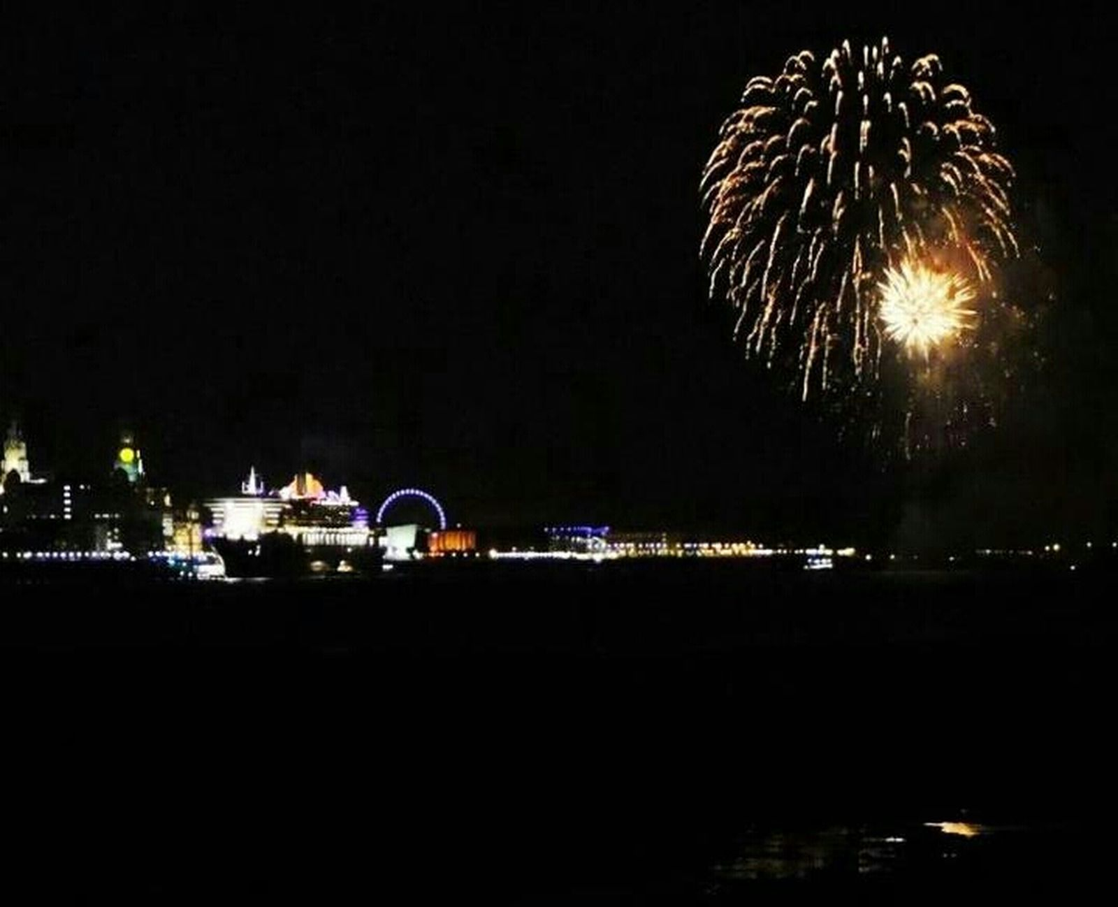 Cruise Ship Liverpool Boat In Fireworks Love Liverpool