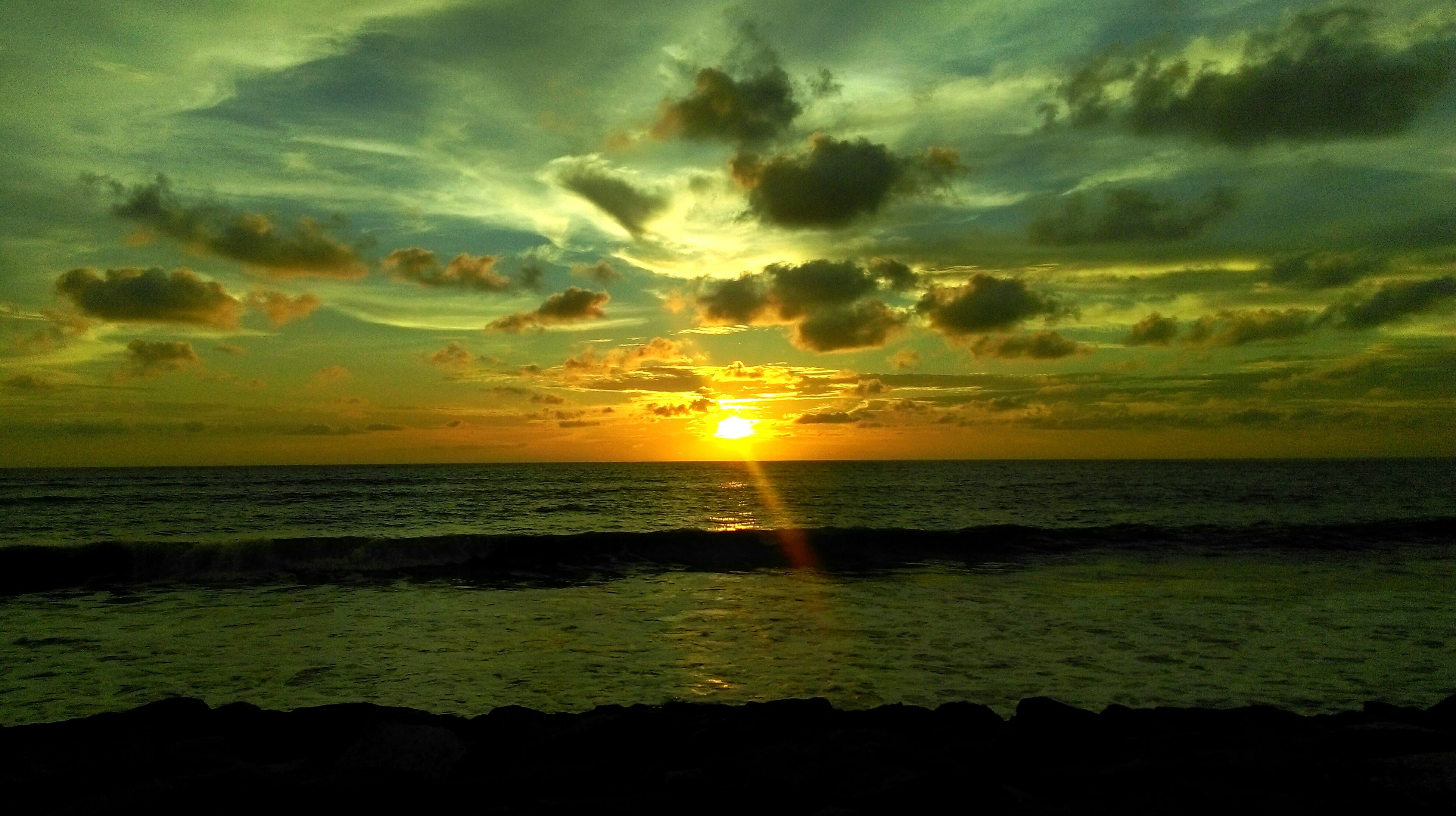 horizon over water, sea, sunset, water, scenics, tranquil scene, sky, beauty in nature, sun, tranquility, beach, cloud - sky, idyllic, shore, nature, cloud, orange color, sunlight, cloudy, seascape
