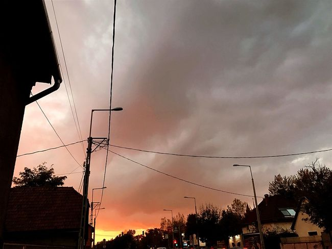 Electricity  Sky Cable Power Supply Cloud - Sky Power Line  Connection Sunset Low Angle View Technology Silhouette Fuel And Power Generation Electricity Pylon Tree No People Outdoors Storm Cloud Nature Electric Pole Telephone Line