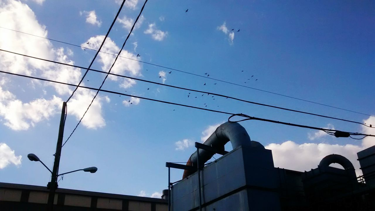 Low Angle View Of Birds Flying Over Factory Against Sky