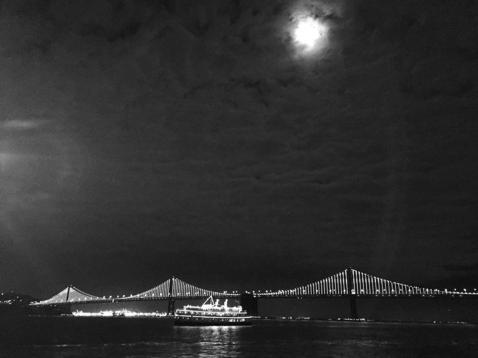 Bay Bridge San Francisco Bay Bridge San Francisco City Lights Night Lights Night Photography Embarcadero Waterfront Carlifornia USAtrip Black & White Blackandwhite