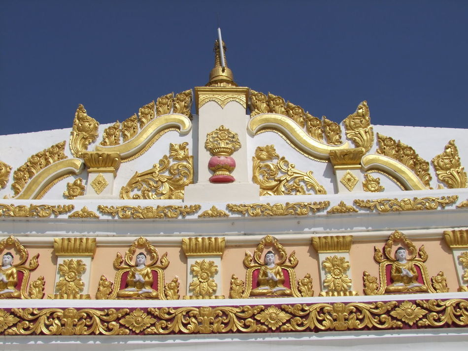 Building Detail of U Min Thonze Pagoda Architectural Detail Blue Sky Buddhism Buddhist Architecture Buddhist Art Buddhist Deities Buddhist Design Buddhist Pagoda Buddhist Temple Composition Famous Place Myanmar No People Ornate Design Outdoor Photography Place Of Pilgrimage Place Of Prayer Place Of Worship Religion Sagaing Sunlight Tourist Attraction  Travel Destination U Min Thonze Pagoda White And Gold Colour