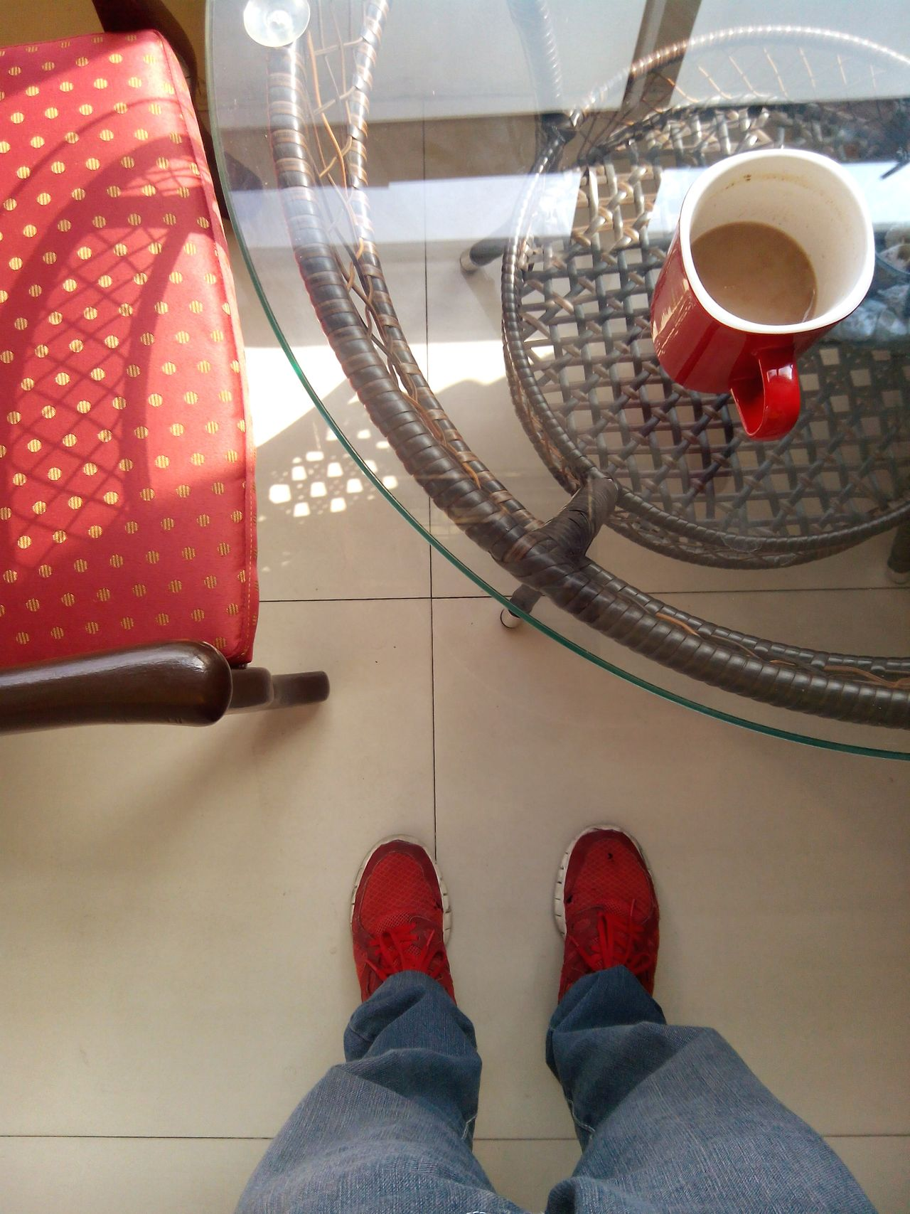 Red Coffee Rubbershoes Morning Sky