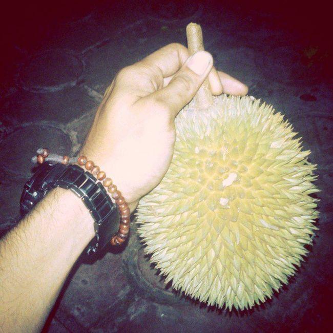 Baru sampek rumah. Eh, udah jatoh aja. Langsong eksekusi di tempat. Durian Aceh Meulaboh Leuhan