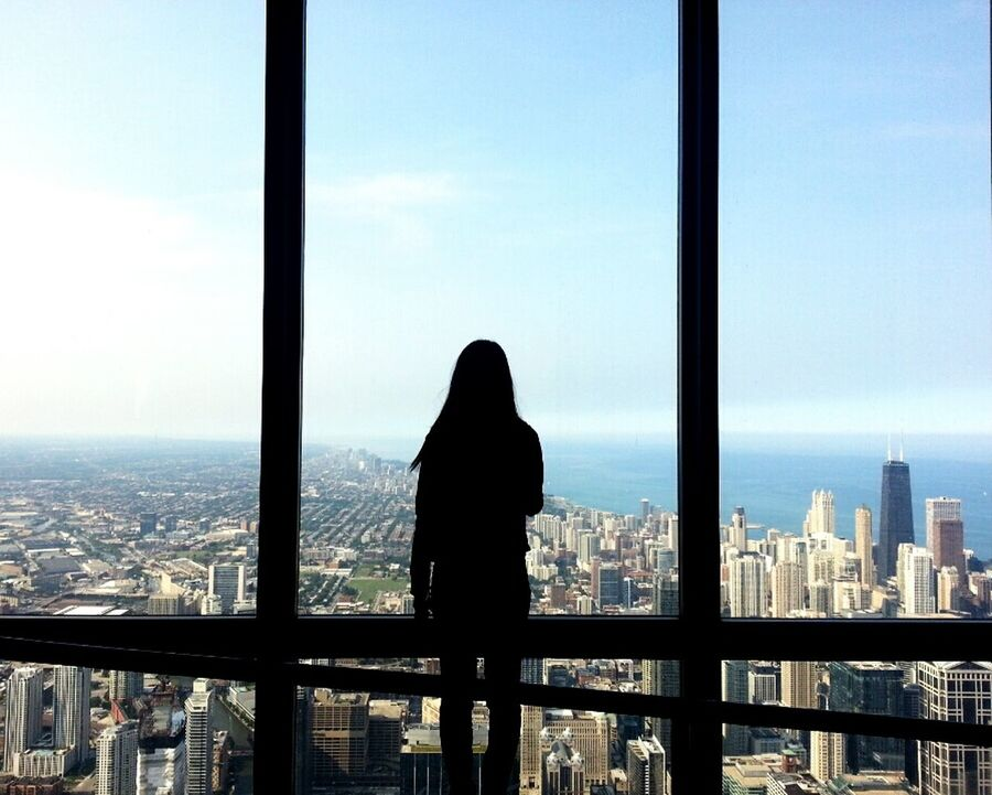 Starting A Trip Chicago Willis Tower- Skydeck United States Silhouette Seing The Sights Battle Of The Cities